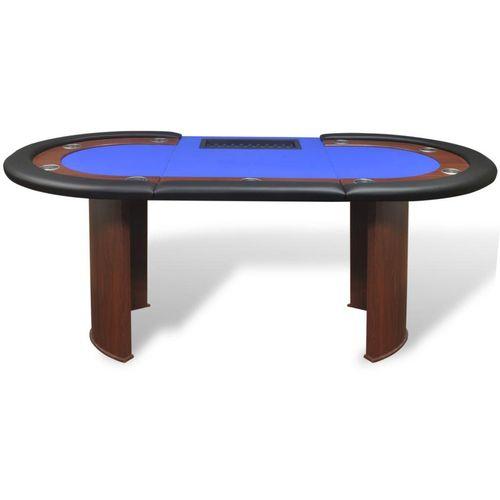Stol za Poker za 10 Igrača s Prostorom za Djelitelja i Držačem Žetona Plavi  slika 8