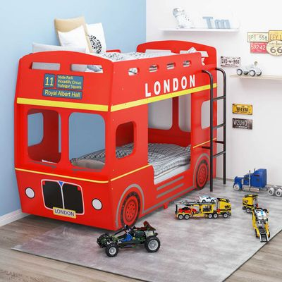 Ovaj krevet na kat posebno je dizajniran s temom londonskog autobusa i prikladan je za odrasle i djecu! Okvir kreveta na kat napravljen je od MDF-a i sadrži željezne bočne ljestve za penjanje na gornji krevet. Ovaj krevet za potkrovlje premazan je...