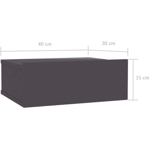 Viseći noćni ormarići 2 kom sjajni sivi 40x30x15 cm od iverice slika 19