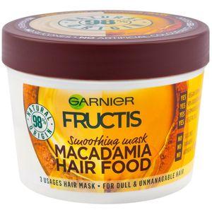 Garnier Fructis Hair Food Macadamia maska za beživotnu kosu koja se teško oblikuje 390 ml  Vaša kosa je intenzivno njegovana i postaje lakša za oblikovanje. Može se upotrebljavati kao:  1. Regenerator: nanesite na vlažnu kosu, a zatim isperite za lako...