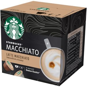 Isprobaj novi NESCAFÉ Dolce Gusto Starbucks! Kao inspiracija joj je poslužio omiljeni STARBUCKS Latte Macchiato, ona je baršunasta, bogata i savršeno poznatog okusa. Priprema se kod kuće pomoću aparata NESCAFÉ® Dolce Gusto®. Kapsule za kavu STARBUCKS by NESCAFÉ® Dolce Gusto® prikladne su za upotrebu s aparatima za kavu NESCAFÉ® Dolce Gusto®.