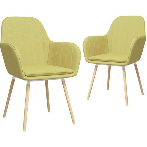 Blagovaonske stolice s naslonima za ruke 2 kom zelene tkanina slika 1