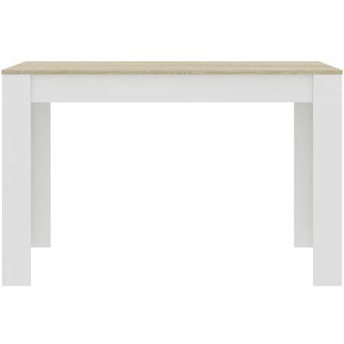 Blagovaonski stol bijeli i boja hrasta 120 x 60 x 76 cm iverica slika 4