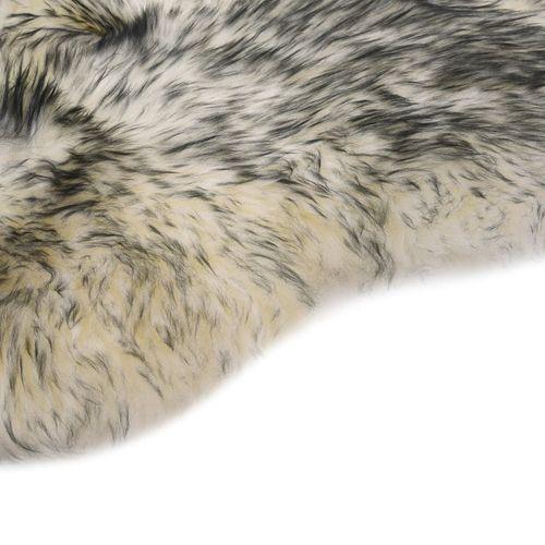 Tepih od ovčje kože 60 x 180 cm tamnosivi prošarani slika 3