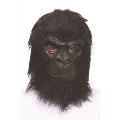 Prekriva cijelo lice. Poput prave gorile ima široki nos i crno krzno.