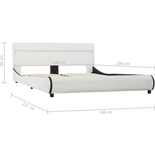 Okvir za krevet od umjetne kože LED bijeli 140 x 200 cm  slika 9