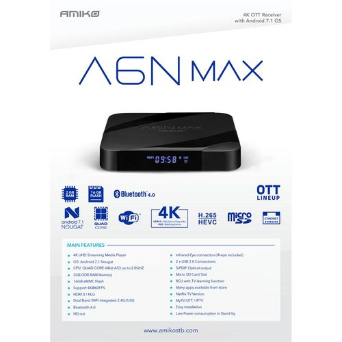 Amiko Prijemnik IPTV@Android, Stalker, Netflix TV, 2/16GB, 4K,WiFi - A6N MAX slika 5