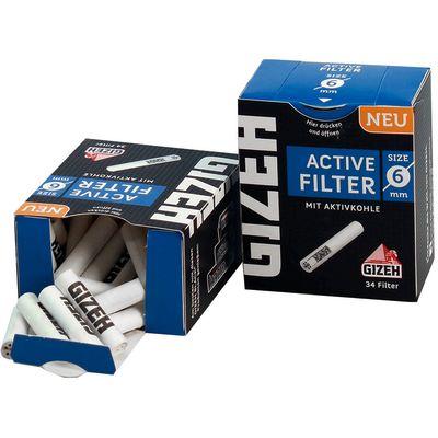 Filteri sa aktivnim ugljenom Gizeh 'Black', pakiranje sadrži 34 filtera za jednokratnu upotrebu. Promjer jednog filtera je 6mm