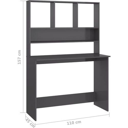 Radni stol s policama visoki sjaj sivi 110x45x157 cm iverica slika 32