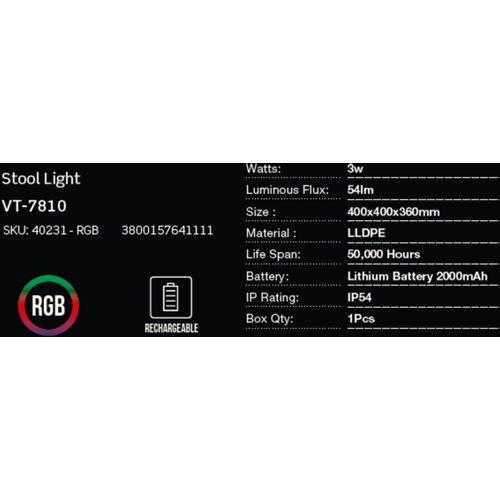 LED bežična punjiva rasvjeta — STOOL slika 2
