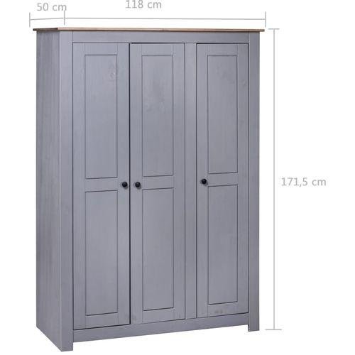 Ormar od borovine 3 vrata sivi 118x50x171,5 cm asortiman Panama slika 14