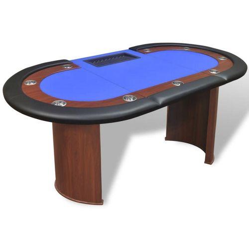 Stol za Poker za 10 Igrača s Prostorom za Djelitelja i Držačem Žetona Plavi  slika 7