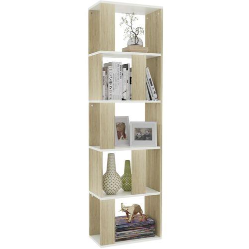 Ormarić za knjige / pregrada bijeli/hrast 45x24x159 cm iverica slika 12