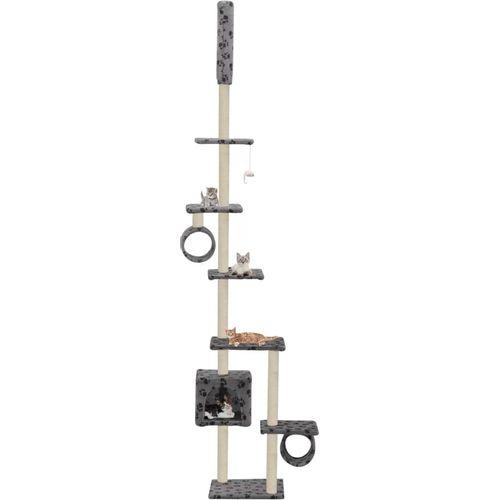 Penjalica za mačke sa stupovima za grebanje od sisala 260 cm siva s otiscima šapa  slika 1