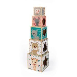 5 drvenih blokova za slaganje koji će potaknuti vaše dijete da razvije koordinaciju i osjećaj opažanja.  Svaka strana bloka ilustrira drugačiju temu: Sophie la žirafa i njezini prijatelji, brojevi, slova i pariški krajolik.  U svakom se bloku nalazi i otvorena strana s prepoznatljivim oblikom (srce, zvijezda, trokut itd.)