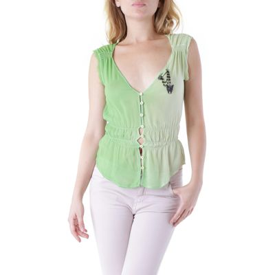 Talijanska veličina.   Woman Blouse richmond x. blouse 100%silkmade in italy: front closure. buttons designer motif sleeveless. brooch. dry-clean. color: green collection: spring/summer