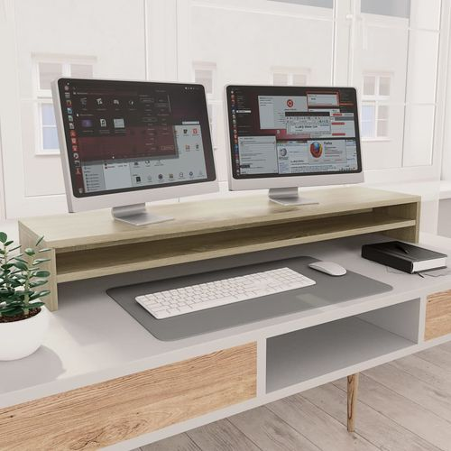 Stalak za monitor boja hrasta sonome 100 x 24 x 13 cm iverica slika 7