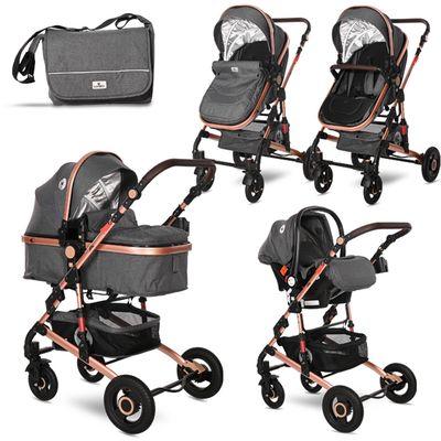 Ovaj set pruža sve što Vam treba za sretan početak majčinstva: košaru za novorođenče koja se kasnije pretvara u udobna sportska kolica, autosjedalicu s adapterima, torbu i zimsku navlaku. Promatrajte svoje novorođenče od prve šetnje jer kolica LORELLI ALBA PREMIUM 3U1 imaju opciju i košare za novorođenče i autosjedalice. Lako se sklapaju i rasklapaju, zauzimaju minimalno mjesta, a mogu se koristiti i od samog rođenja...  - Sigurnosni pojas u 5 točaka  - Sjedalo s 3 položaja (ležeći, polu-ležeći i sjedeći)  - Zimska zaštitna navlaka za noge za autosjedalicu, košaru i kolica  - Zaštitna kupola koja se lako rasklapa  - Autosjedalica s adapterima  - Putna torba s navlakom za previjanje  - Mehanizam lakog sklapanja kolica  - Prostrana donja košara za kupovinu (do 2 kg)  - Oslonac za noge prilagodljiv u nekoliko razina  - Sklopiva na kompaktnu veličinu  - Kotači s amortizerima