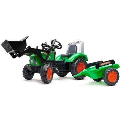 Toot toot, javite svima da dolazite iza ugla!     Ovaj prekrasan traktor Falk Supercharger u zelenoj boji izgleda točno poput pravih traktora. U prtljažniku se može nositi sve - od igračaka do pijeska i sijena...