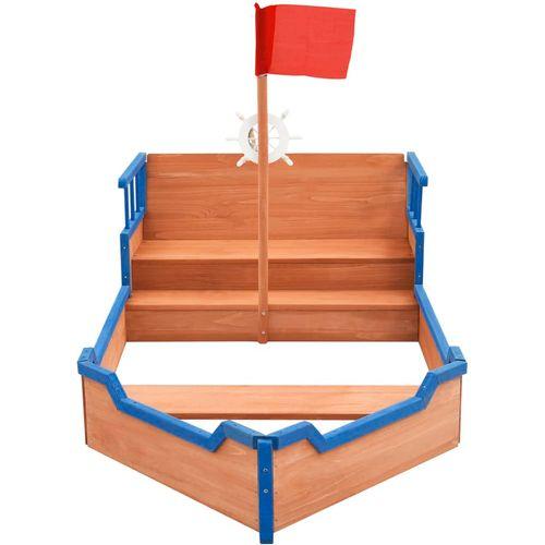 Pješčanik u obliku gusarskog broda od jelovine 190x94,5x136 cm slika 3