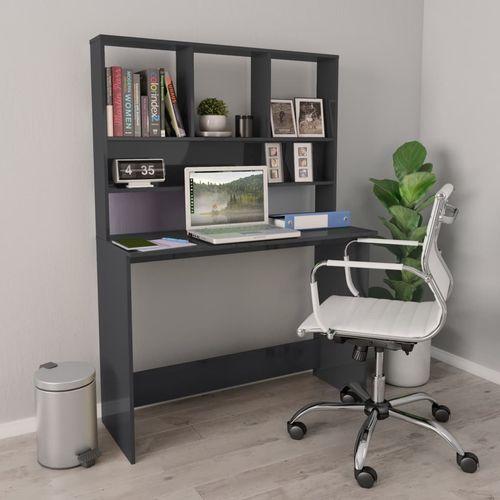 Radni stol s policama visoki sjaj sivi 110x45x157 cm iverica slika 27