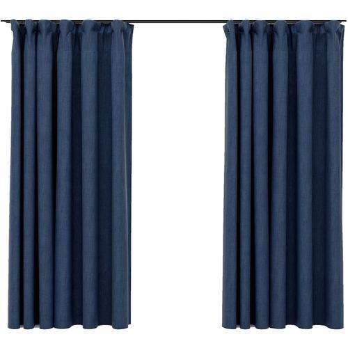 Zavjese za zamračivanje s kukama 2 kom plave 140 x 175 cm slika 9
