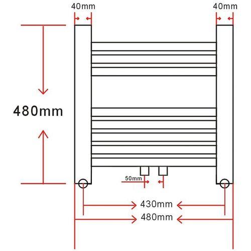 Kupaonski Radijator za Centralno grijanje Zaobljenih cijevi 480 x 480 mm Bočni & Srednji priključak  slika 20
