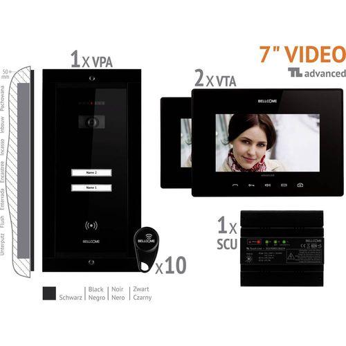 Bellcome VKA.P2FR.T7S9.BLB04 Video portafon za vrata Žičani Kompletan set 2 obiteljske kuće Crna slika 1