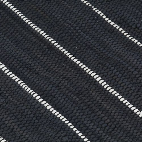 Ručno tkani tepih Chindi od pamuka 80 x 160 cm antracit slika 2