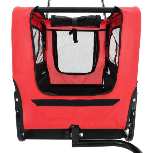 2-u-1 prikolica za bicikl i kolica za kućne ljubimce crveno-crna slika 11