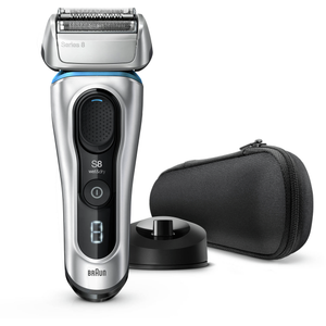 Braun Series 8 8350s, brijaći aparat nove generacije, punjiv i bežičan, srebrni, s postoljem za punjenje i tekstilnim putnim etuijem, za mokro i suho brijanje, aparat s mrežicom, litij-ionska baterija za dulji rad (60 minuta), 100% vodootporan