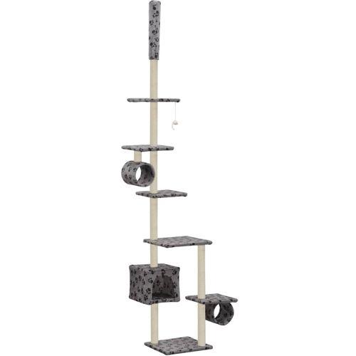 Penjalica za mačke sa stupovima za grebanje od sisala 260 cm siva s otiscima šapa  slika 2