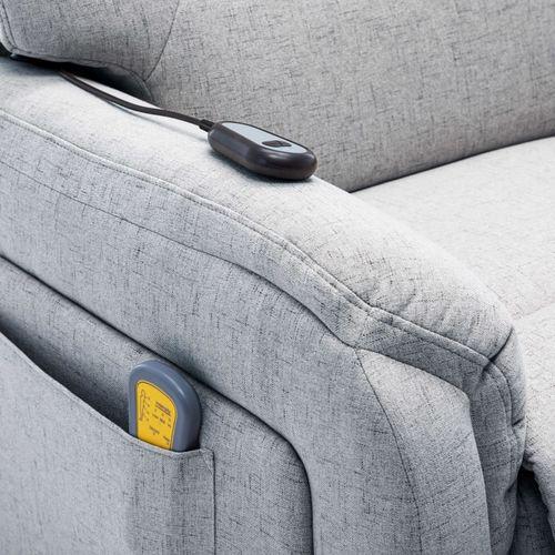 Električni masažni TV naslonjač od tkanine svjetlosivi slika 5