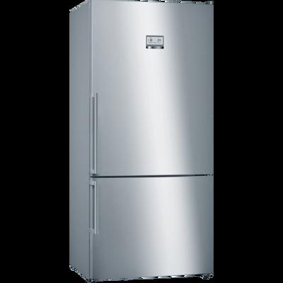 Serie | 6, Samostojeći hladnjak sa zamrzivačem na dnu, 186 x 86 cm, Nehrđajući čelik (s premazom protiv otisaka prstiju)    NoFrost XXL hladnjak sa zamrzivačem i VitaFresh plus ladicom: čuva namirnice dulje svježima.        XXL kapacitet: pruža puno prostora za vašu hranu.    VitaFresh XXL: Vitamini u voću i povrću ostaju svježi dulje u klimatski kontroliranom prostoru.    NoFrost: Oprostite se od odmrzavanja hladnjaka sa zamrzivačem.    Perfect Fit: Uređaj se može postaviti pokraj bočnih zidova i pokućstva.    LED osvjetljenje: jednakomjerno osvijetli hladnjak za vrijeme cijelog životnog vijeka uređaja.
