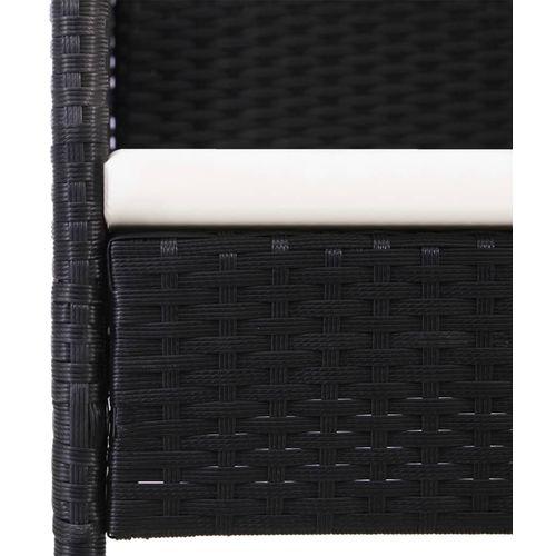 11-dijelni vrtni blagovaonski set od poliratana s jastucima crni slika 6