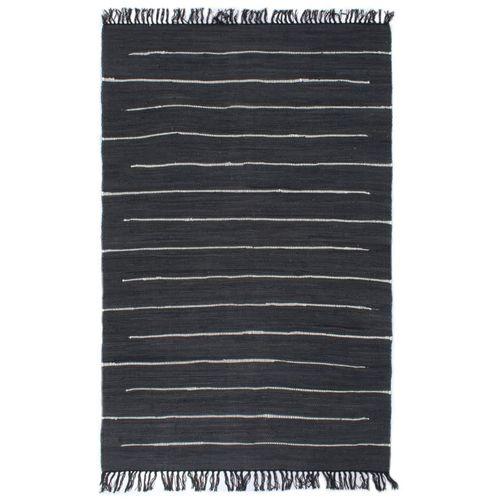 Ručno tkani tepih Chindi od pamuka 80 x 160 cm antracit slika 1