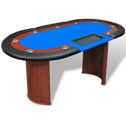 Stol za Poker za 10 Igrača s Prostorom za Djelitelja i Držačem Žetona Plavi  slika 32