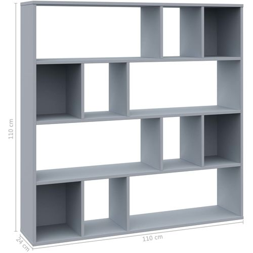 Sobna pregrada / ormarić za knjige siva 110x24x110 cm iverica slika 7