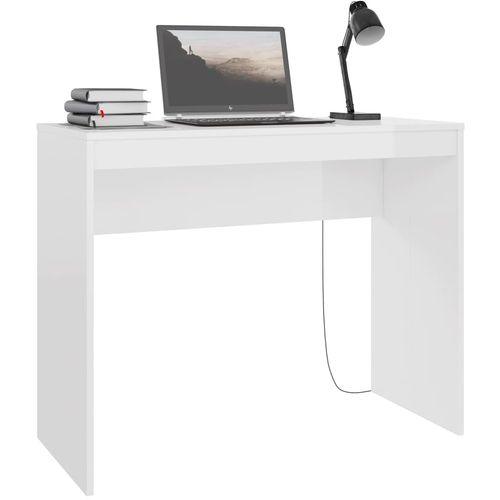 Radni stol visoki sjaj bijeli 90 x 40 x 72 cm od iverice slika 22