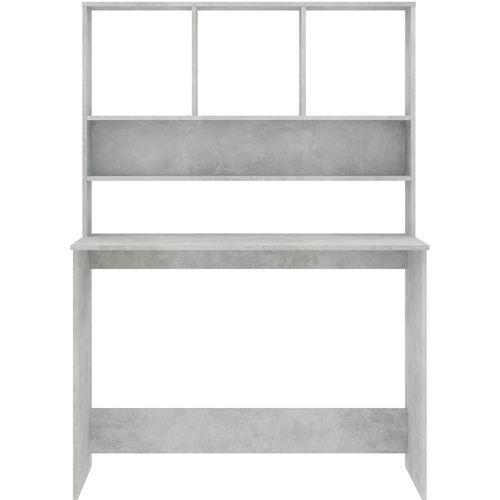 Radni stol s policama siva boja betona 110x45x157 cm iverica slika 4