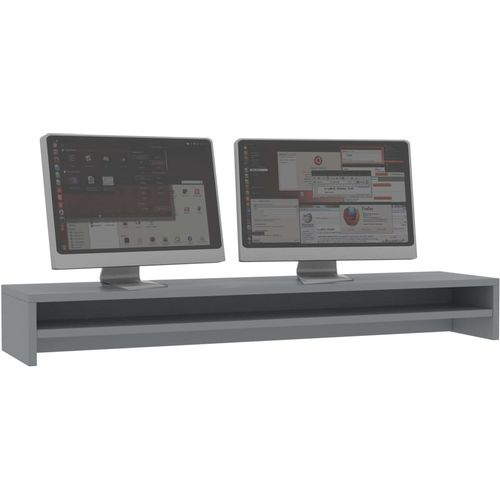 Stalak za monitor sivi 100 x 24 x 13 cm od iverice slika 3