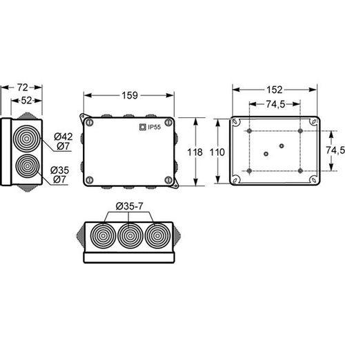 Famatel Razvodna kutija nadžbuk 153x110, vodonepropusna, IP55 - 3012-RKN/153-110 slika 2