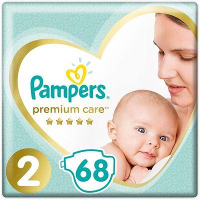 Pampers Premium Care, pelene s trakicama za učvršćivanje, veličina 2, 4-8 kg, 68 komada pelena    Već od prvog dodira s pelenama Pampers Premium Care, koje pružaju našu najbolju zaštitu kože, vaša beba neće osjetiti ništa drugo osim čiste ljubavi. Mekane su poput svile i suhe u tren oka.