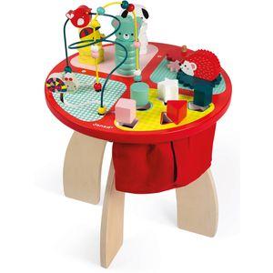 Ovaj aktivni drveni stol jarkih boja i sa 4 odjeljka za igru pomoći će mališanima u razvoju vještina. Igrom s tri životinje koje je potrebno složiti u piramidu djeca razvijaju motoriku te istovremeno uče o bojama i...