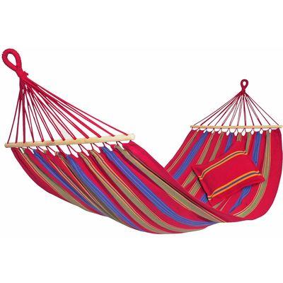 Vodootporna dugotrajna ležaljka postojanih boja s drvenim dijelovima! Kompatibilna s Amazonas stalcima Površina za ležanje cca.: 210 x 120 cm Veličina cca.: 310 cmDužina prečke80 cm Težina cca.: 1,6 kgMax. nosivost: 180 kg