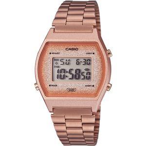 Ručni sat CASIO B640WCG-5EF dio je Vintage kolekcije. Sastoji se od akrilnog stakla, kućišta od sintetičke smole i remena od nehrđajućeg čelika. Vodootporan je do 50 metara. Sadrži multi alarm, LED diodu koja osvjetljava sat, diodu koja blinka kao alarm ili kad završi odbrojavanje, automatski kalendar i mogućnost namještanja 12 ili 24 formata.