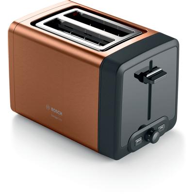 Kompaktni toster, DesignLine, copper  Ugrađena rešetka za zagrijavanje koja se može sklopiti.  Funkcija podgrijavanja: ponovno zagrijava vaš tost, koji tako postaje hrskaviji i ukusniji.  Jednakomjerno pečenje s automatskim centriranjem kruha.  High Lift: jednostavno uklanjanje čak i malih kriški kruha  Automatsko isključivanje: zaustavlja toster kada kruh zaglavi