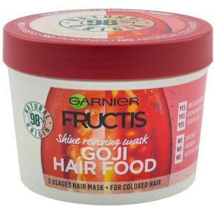 Garnier Fructis Hair Food Goji maska za obojenu kosu 390 ml  Štiti obojenu kosu i osvježava je tijekom dužeg razdoblja. Može se upotrebljavati kao:  1. Regenerator: nanesite na vlažnu kosu, a zatim isperite za lako raščešljavanje i sjaj obojene kose.  2....