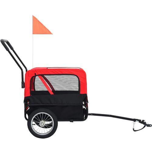 2-u-1 prikolica za bicikl i kolica za kućne ljubimce crveno-crna slika 3