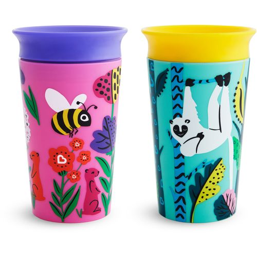 Munchkin Miracle 360 Sippy Cup Wild Love Bee Lemur 266ml 2Pk slika 1